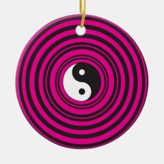 Yin Yang Hot Pink Black Concentric Circles Ceramic Ornament