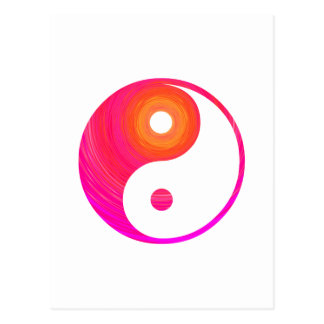 Yin Yang Hot Pink, Purple, and Orange Illustration Postcard