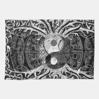 Yin Yang in Black and White w/ Tree of Life Kitchen Towel