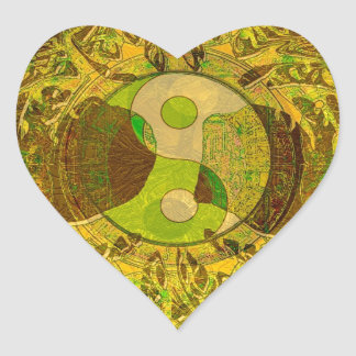 Yin Yang in Golden Colors Heart Sticker