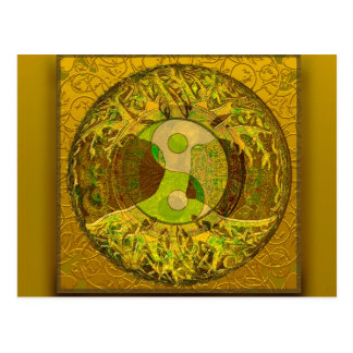 Yin Yang in Golden Colors Postcard