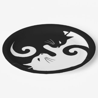 Yin Yang Kitties Paper Plate