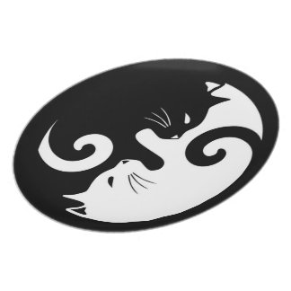 Yin Yang Kitties Plate