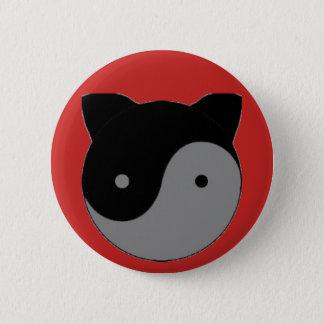 Yin Yang Kitty Cat Kitten 2 Inch Round Button