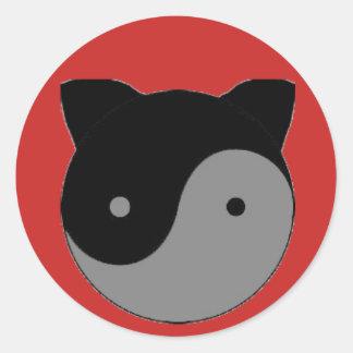 Yin Yang Kitty Cat Kitten Classic Round Sticker