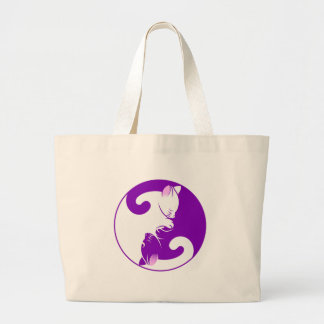 Yin Yang Kitty Large Tote Bag