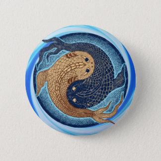Yin Yang Koi Fish Mandala 2 Inch Round Button