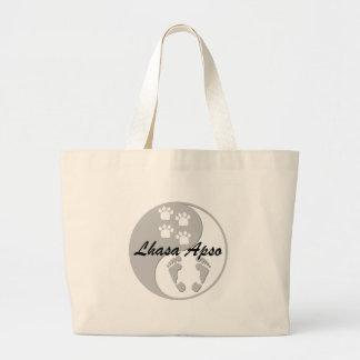 yin yang lhasa apso large tote bag