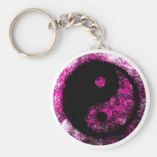 Yin Yang Magenta Black The MUSEUM Zazzle Gifts Basic Round Button Keychain