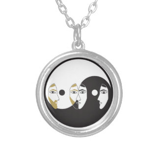 Yin Yang Man Woman Silver Plated Necklace