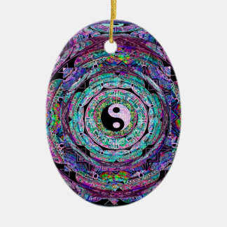 Yin Yang Mandala in Purple Colors Ceramic Ornament