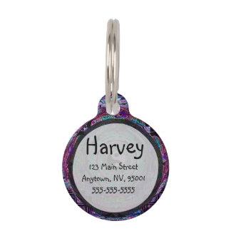 Yin Yang Mandala in Purple Colors Pet Nametag