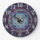 Yin Yang Mandala in Purple Colours Large Clock