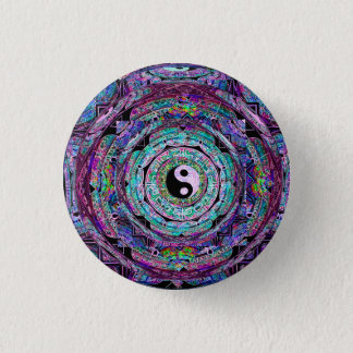 Yin Yang Mandala Purple 1 Inch Round Button