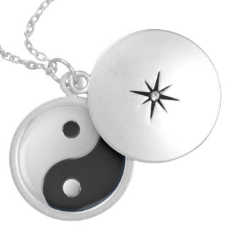 Yin-Yang medallion Silver Plated Necklace