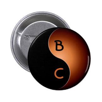 yin yang monogram - coffee 2 inch round button