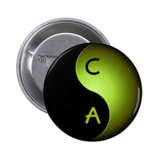 yin yang monogram - lime 2 inch round button