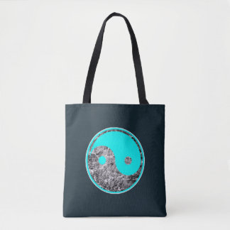 Yin-yang motif of aqua on rippling water tote bag