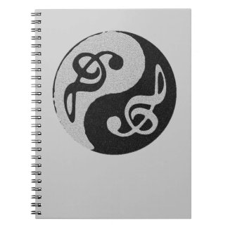 yin yang music clave note notebook