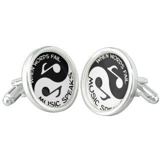 Yin yang music cuff links