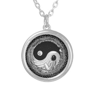 Yin Yang Night Silver Plated Necklace