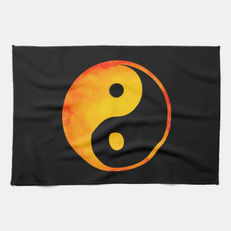 Yin Yang Orange and Yellow Watercolor on Black Kitchen Towel