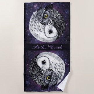 Yin Yang Owls Beach Towel