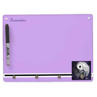 Yin Yang Owls Dry Erase Board With Keychain Holder