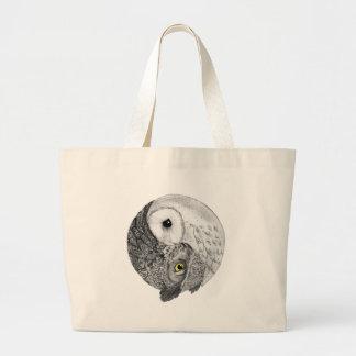 Yin Yang Owls Large Tote Bag