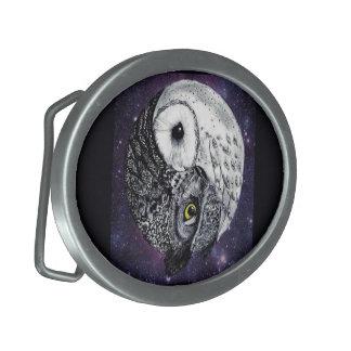 Yin Yang Owls Oval Belt Buckles