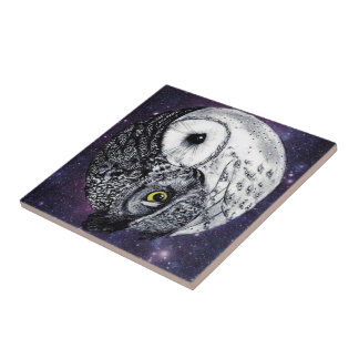 Yin Yang Owls Tile