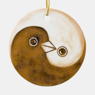 Yin Yang peace doves ceramic decoration