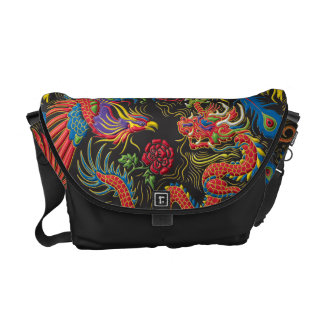 Yin Yang Phoenix and Dragon Messenger Bag