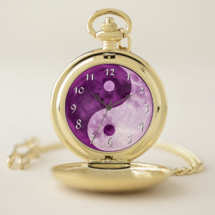 Yin Yang Purple Moon Beautiful Unique Pocket Watch