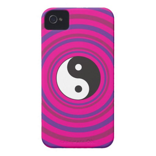 Yin Yang Purple Pink Concentric Circle Pattern iPhone 4 Case