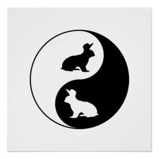 Yin Yang Rabbits Perfect Poster