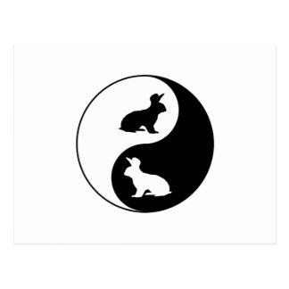 Yin Yang Rabbits Postcard