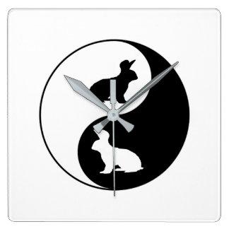 Yin Yang Rabbits Wall Clocks