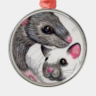 Yin Yang rats Metal Ornament