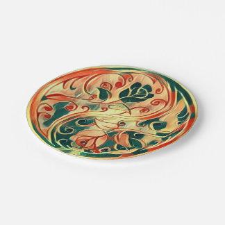 Yin Yang Roses 7 Inch Paper Plate