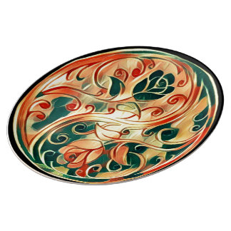 Yin Yang Roses Porcelain Plates