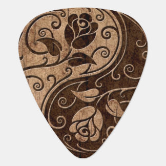 Yin Yang Roses with Wood Grain Effect Pick
