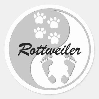 yin yang rottweiler classic round sticker