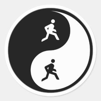 Yin Yang Running Classic Round Sticker