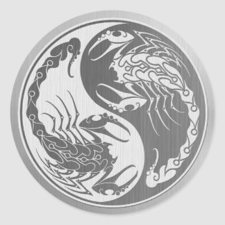 Yin Yang Scorpions with Stainless Steel Effect Classic Round Sticker