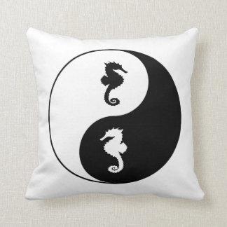 Yin Yang Seahorse Throw Pillow