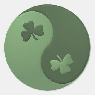 Yin Yang Shamrocks Classic Round Sticker