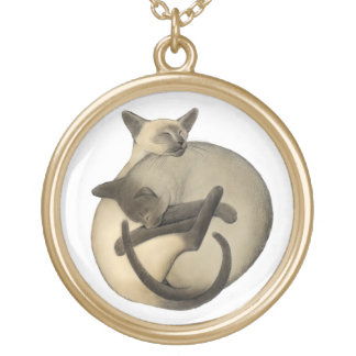 Yin Yang Siamese Cats Necklace