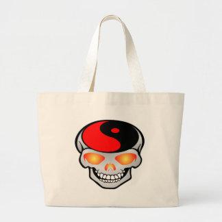 Yin-Yang Skull Tattoo Large Tote Bag