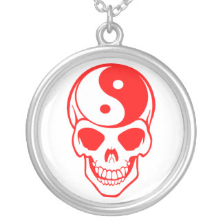 Yin Yang Skull White/Red Necklace